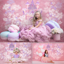 Castle Pink Kids Backdrop for Photography Studio Princess Birthday art photography background Girl 1st Birthday Cake Smash Props