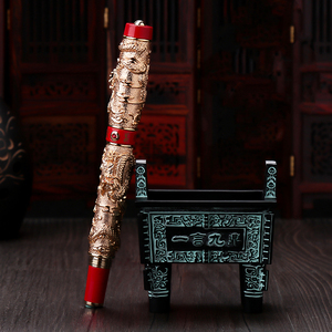 Image 3 - Jinhao Double Dragon / Snake Vintage Luxurious Fountain Pen / Pen Holder Full Metal Carving Embossing Heavy Gift Pen Collection