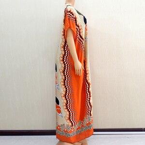 Image 3 - 2020 vêtements africains pour femmes Dashiki mode impression Design Applique Orange 100% coton ample Maxi robe avec écharpe pour les vacances