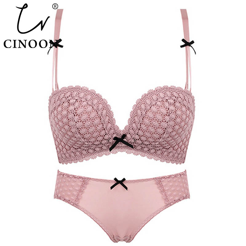 CINOON Fashion Cotton   Bra     Set   Push Up Brassiere Adjustable   Bras   and Panties   Set   Sexy Lace Confortable Lingerie   Sets