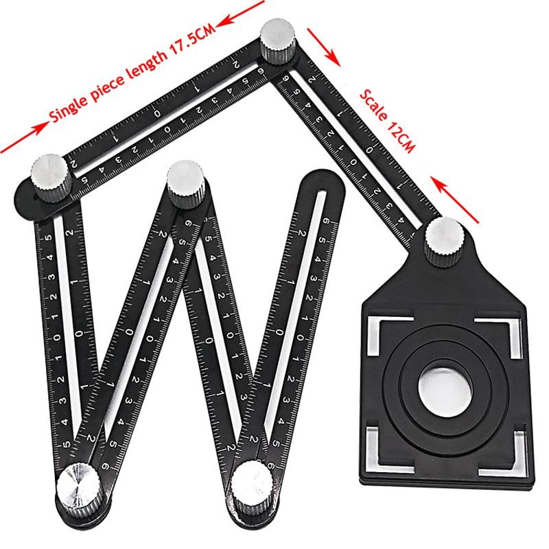 New Construction Multi Angle Measuring Ruler Aluminum Folding Positioning Ruler Professional DIY Wood Tile Flooring Tool