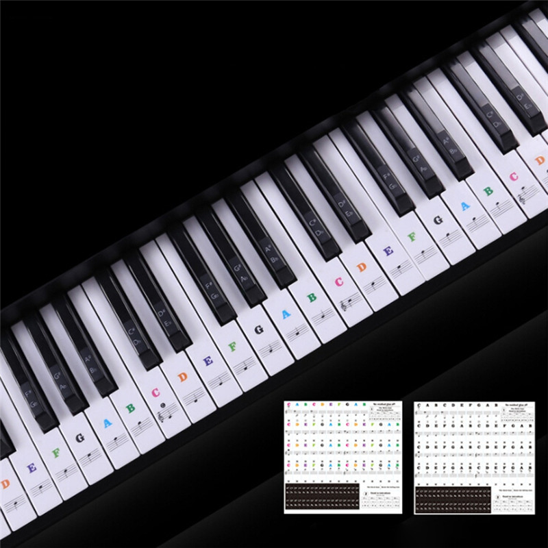 3 SIZE Transparent Piano Keyboard Sticker 54/61 Key Electronic Keyboard Piano Sticker 88 Key Piano Stave Note Sticker For White
