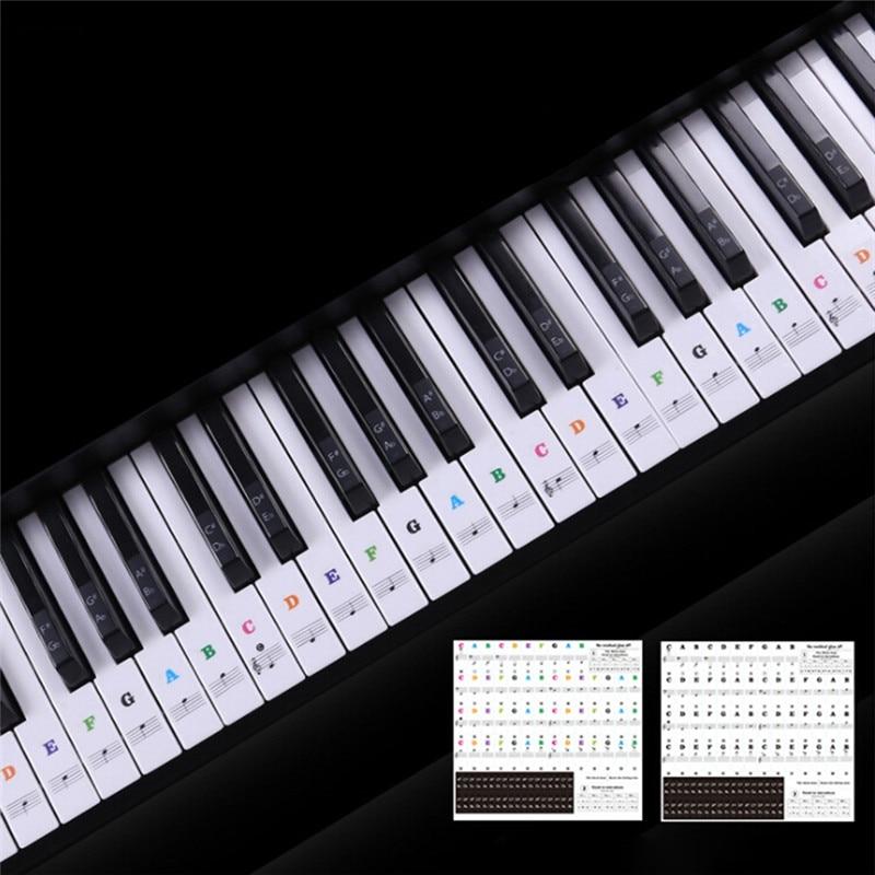 3 SIZE Transparent Piano Keyboard Sticker 54/61 Key Electronic Keyboard Piano Sticker 88 Key Piano Stave Note Sticker For White