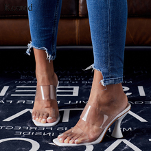 Kcenid 2020 Women slippers sandals cup high heel transparent tape slingback square toe casual fashion summer slippers size 35 42