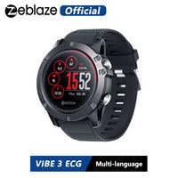 Zeblaze VIBE 3 ECG instantané ECG à la demande affichage couleur fréquence cardiaque IP67 étanche multi-sports Modes Fitness Tracker montre intelligente