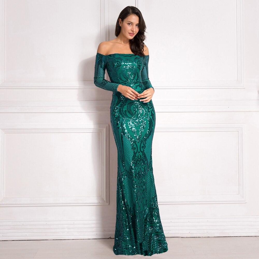 Vert brillant paillettes rembourré Maxi robes hors de l'épaule Slash cou doublure robe de soirée moulante extensible élégant Maxi robe or