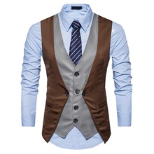 ZOGAA 2019 New Vintage Slim Fit Male Waistcoat Sleeveless Casual Gilet Costume Business Dress Vest Formal Fake Two Men