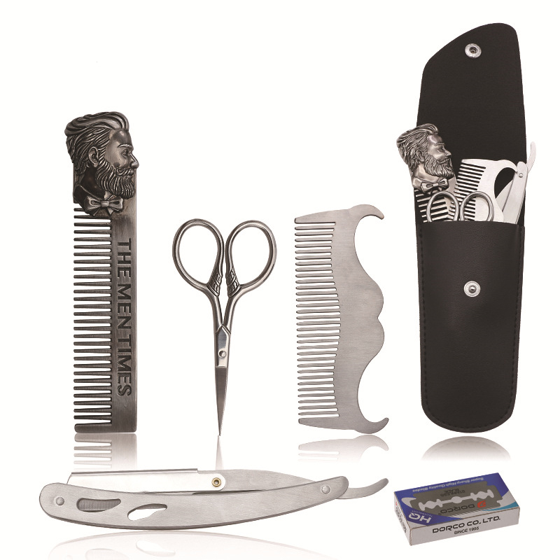 Beard Styling Shaving Kit Beard Grooming Comb Trimming Straight Razor With 10 Pcs Blades Shaping Scissors Beard Beauty Tools