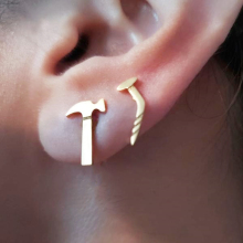 Asymmetric Hammer Nail Stud Earrings For Men Stainless Steel Jewelry Gold Color