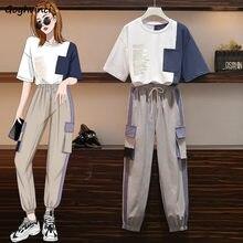 Zestawy dla kobiet Plus rozmiar 4XL patchworkowe kieszenie list sznurkiem wypoczynek Cargo dziewczyna moda szykowne, miejskie BF luźne koreańskie Style