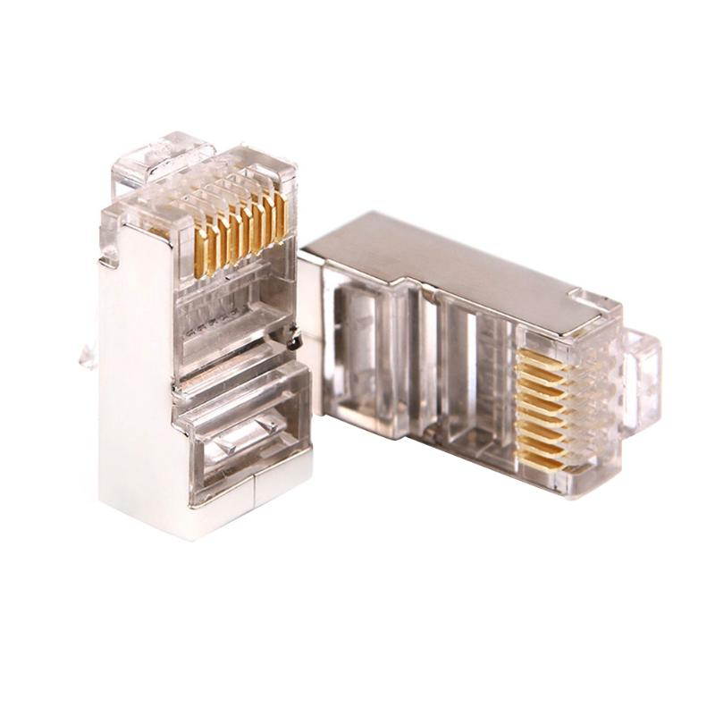 10/20/50Pcs Cat6 Crystal RJ45 Modular Plug Rj-45 Network Cable Connector Adapter W/Metal Shield For TV/TV Box/Router/ADSL