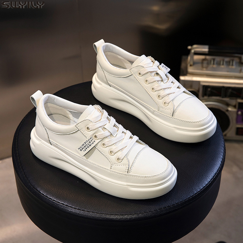 SWYIVY Genuine Leather Casual Shoes Women Sneakers 2019 Autumn Light White Sneakers Platform Med Heel Ladies Shoe Comfortable 40