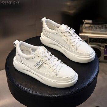 SWYIVY oryginalne skórzane obuwie damskie trampki 2019 jesienne lekkie białe trampki platforma Med Heel damskie buty wygodne 40