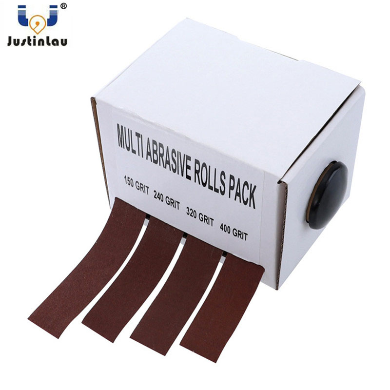 JUSTINLAU Sandpaper Drawable Emery Cloth Sanding Belt 4pcs 25mm*6m Grinding Belts Soft Sandpaper Roll For Wood Turners