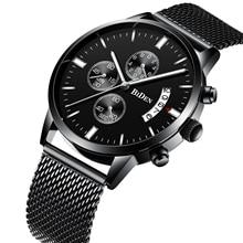 BIDEN Couple Watch Fashion Male Watches Waterproof Black Stainless Steel Chronograph Date Display Men's Wrist Watch Gift For Men все цены
