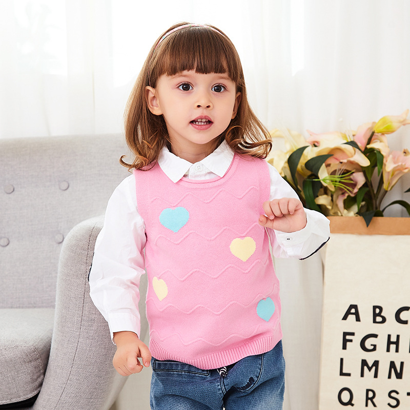2019 CHILDREN'S Sweater New Style CHILDREN'S Sweater Vest Girls Crew Neck Sleeveless Single Layer Korean-style Outdoor Hot Selli