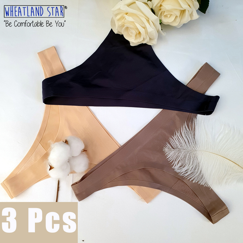 3pcs Lingerie Feminina Sexy Panty Thong Plus Size Low Rise Selected Ice Silk Underwear Women Solid Colors 2020 Women's Intimates
