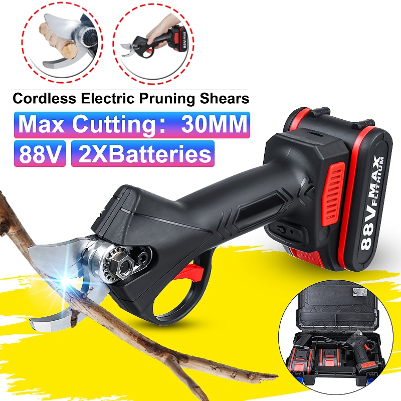 88V Cordless Pruner Lithium-ion Pruning Shear Efficient Fruit Tree Bonsai Pruning Electric Tree Branches Cutter Landscaping
