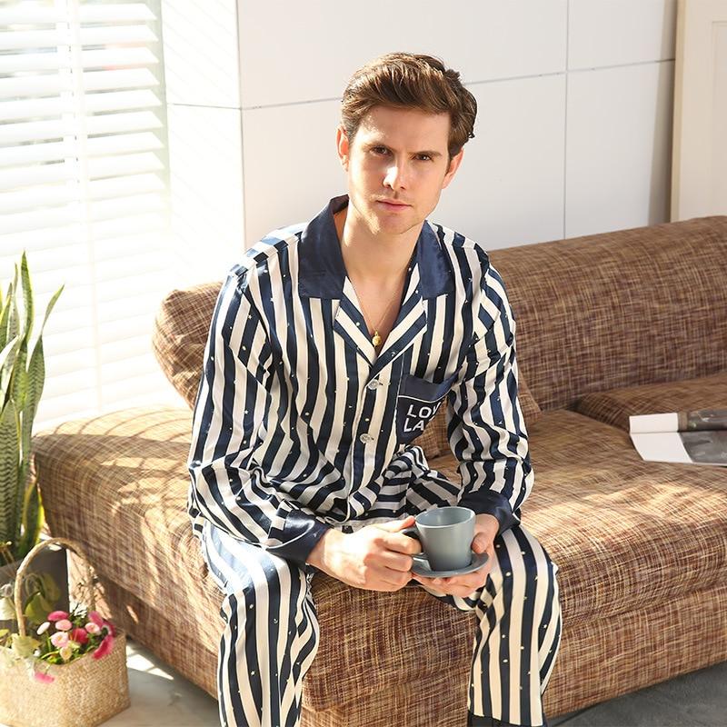 Spring Summer Silk Pajamas For Men Striped Sleepwear Men Pajama Sets Long Sleeve Pants Silk Suit Home Clothes Men Leisure Suits