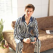 Wiosna lato jedwabne piżamy dla mężczyzn paski męskie bielizna nocna mężczyźni piżamy zestawy z długim rękawem spodnie jedwabne garnitur domu ubrania męskie garnitury wypoczynku tanie tanio Pełna Przycisk mansleepwear V-neck REGULAR Poliester Jedwabiu Elastyczny pas Home service Blue stripes blue star stripes