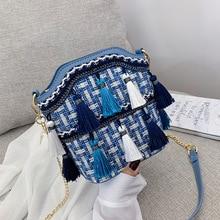 Bohemia Tassel Bucket Crossbody Bags for Women 2019 Summer Beach Straw Bag Rattan Women Shoulder Bag Ladies Handbag Bolso Mujer недорого