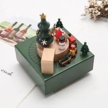 Рождественский поезд музыкальная шкатулка деревянная ручная