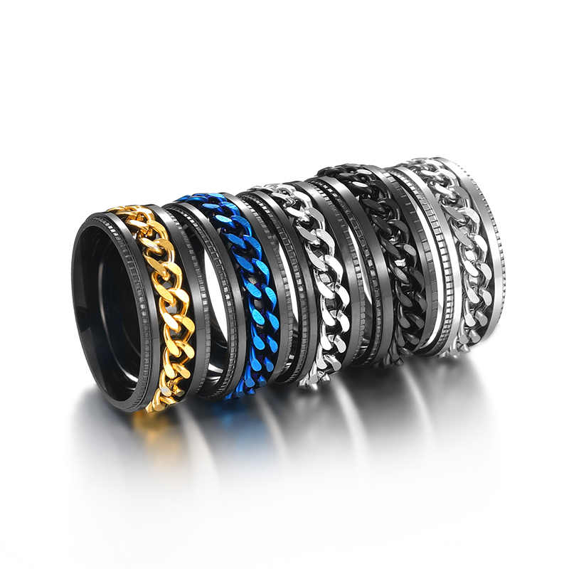 ELSEMODE Titanium Steel Black Spinner Chain Ring for Men Tire Texture Rotatable Links Punk Male Anel Alliance
