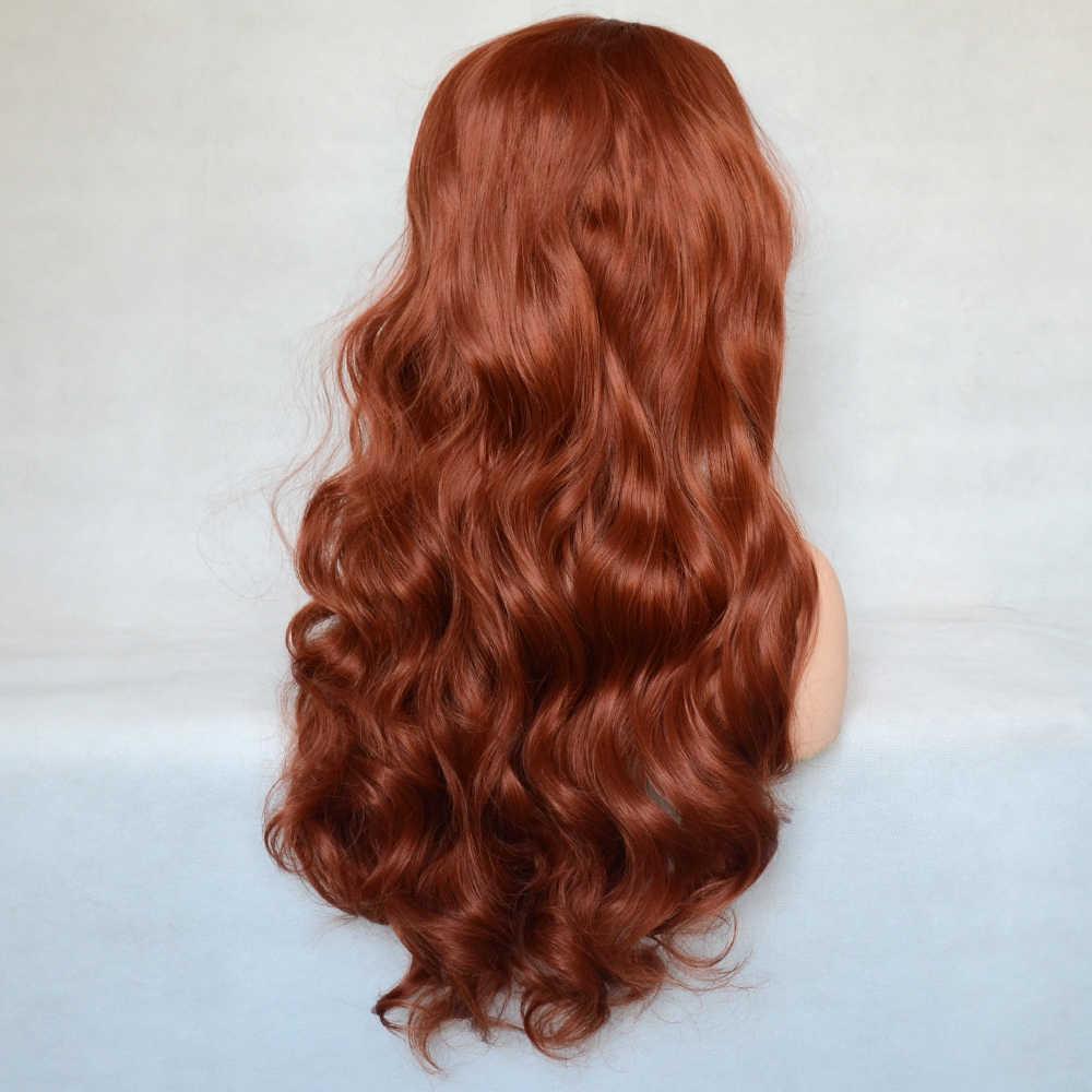 Vogue Queen rojo cobrizo largo Natural ondulado sintético peluca con malla frontal de alta densidad para uso diario de las mujeres