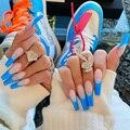 Удлиненные балетки акриловые накладные ногти 24 шт Искусственные ногти набор с использованием такого клея, полное покрытие гроб накладные н...