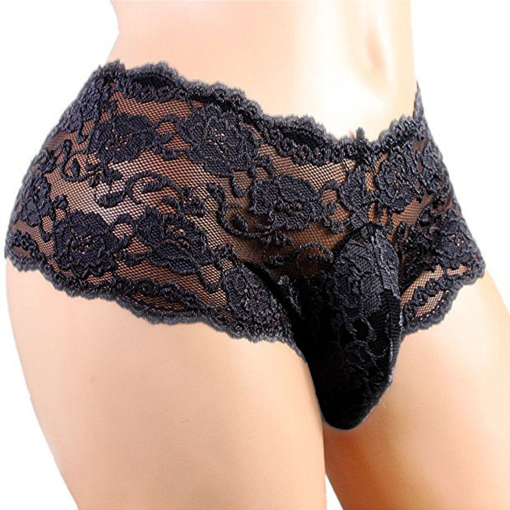 Mens Sexy Sissy Lace Underwear Thongs Enhance Pouch Gay Jockstrap Solid Low Waist Tanga Hombre Plus Size String Homme Underpants