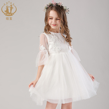 Nimble princess Flower flare sleeve applique handwork beading flower fairy girl dress for wedding Bridesmaid and party clothes plus flower applique knot bell sleeve bardot dress