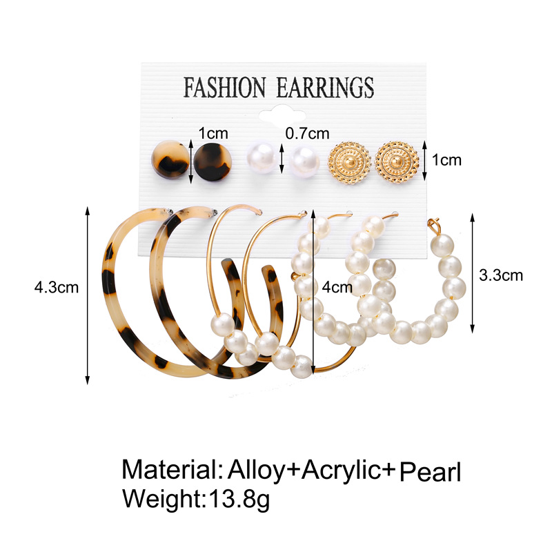 H4227944eedf042ff94f49a350b0ef20bf - IF ME Fashion Vintage Gold Pearl Round Circle Drop Earrings Set For Women Girl Large Acrylic Tortoise shell Dangle Ear Jewelry