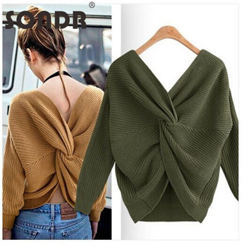 SONDR Women Sweaters And Pullovers Spring Autumn Long Sleeve Backless Sweater Femme Solid Pullover Casual Knitted Sweater 2019 new women sweaters and pullovers autumn winter long sleeve pull femme striped pullover female casual knitted sweater
