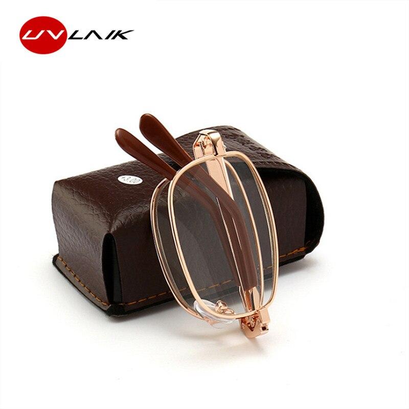 UVLAIK Women Men Folding Metal Reading Glasses +1.00 1.50 2.00 2.50 3.00 3.50 4.00 Foldable Reader Eyewear Diopter With Case