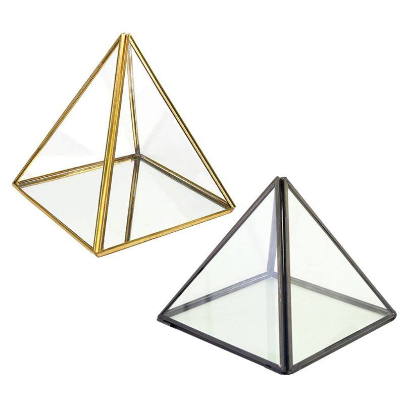 Pyramid Storage Box Glass Terrarium Design Jewelry Holder Clear Faceted Succulent Air Plant Planter Box Pot/Keepsake Display Bow