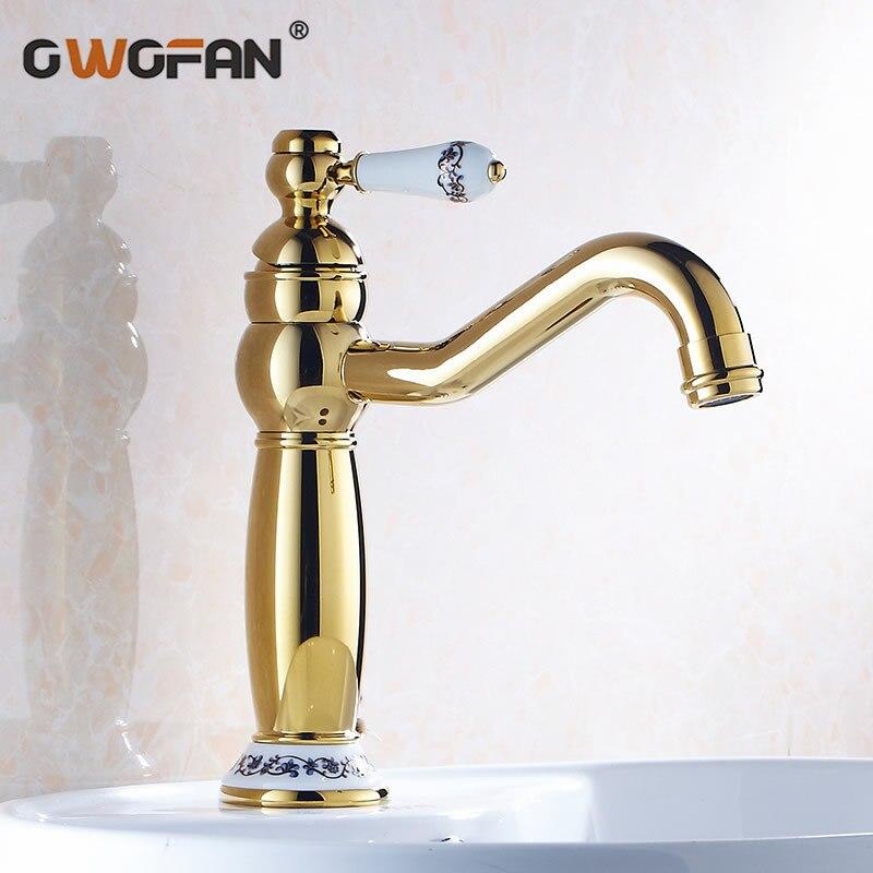Gold-plating Bronze Torneira Do Banheiro bacia Torneiras Toque Mixer Único Punho Hot & Cold Branco Lavatório Torneira torneiras banheiro 2020K