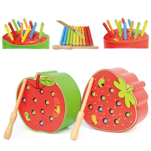 Montessori Puzzle Toys 3D Cognitive Strawberry Grasping Ability Wooden Toy Early Educational Puzzle Catch Worm Game Baby Toys 6