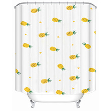 цена на Yellow small pineapple polyester printed waterproof and mildew-proof bathroom shower curtain bathroom partition curtain multiple
