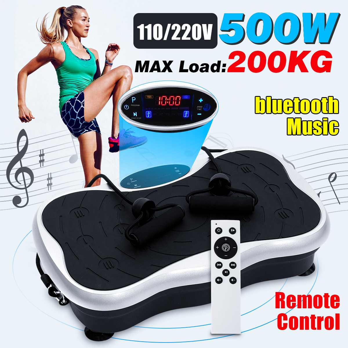 200KG/441LBS Exercise Fitness Slim Vibration Machine Trainer Plate Platform Body Shaper Remote Control with Resistance Bands