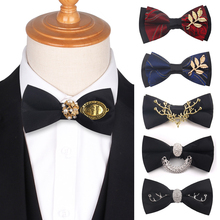 Original Design Bow Tie Men's ties For Wedding Party Metal Golden Wolf Two Layer Neck Bowtie Fashion Handmade Solid