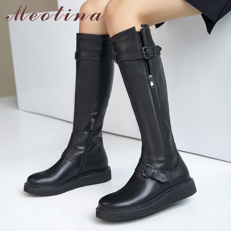 Meotina Riding Boots Women Shoes Genuine Leather Flats Platform Knee High Boots Buckle Zipper Ladies Long Boots Autumn Winter 41