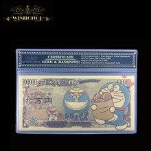 1 pces 2021 japão anime nota com quadro 10,000 yen nota em 24k ouro chapeado dinheiro para a coleção