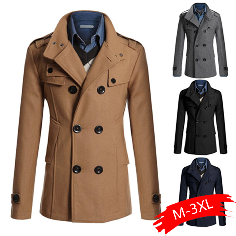 NEW Men Winter Warm Woolen Coat Slim Fit Casual Solid Stand Collar Double Breasted Long Sleeve Pocket Overcoats