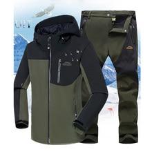 Winter Männer Wandern Jacke + Hosen Professionelle Angeln Anzug Mit Kapuze Fleece Set Outdoor Softshell Treking Camping Kleidung 5XL