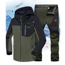 Winter Men Hiking Jacket+Pants Professional Fishing Suit Hooded Fleece Set Outdoor Softshell Treking Camping Clothing 5XL