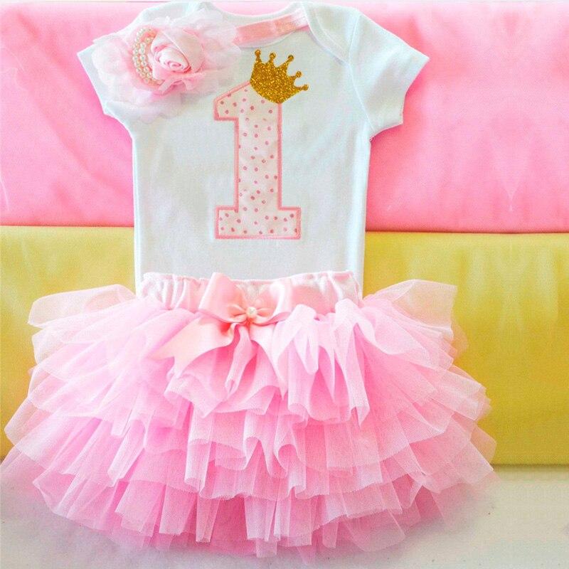É o meu primeiro primeiro vestido de aniversário do bebê recém-nascido 1 anos roupas de aniversário 12 meses da criança menina festa de batismo vestidos rosa