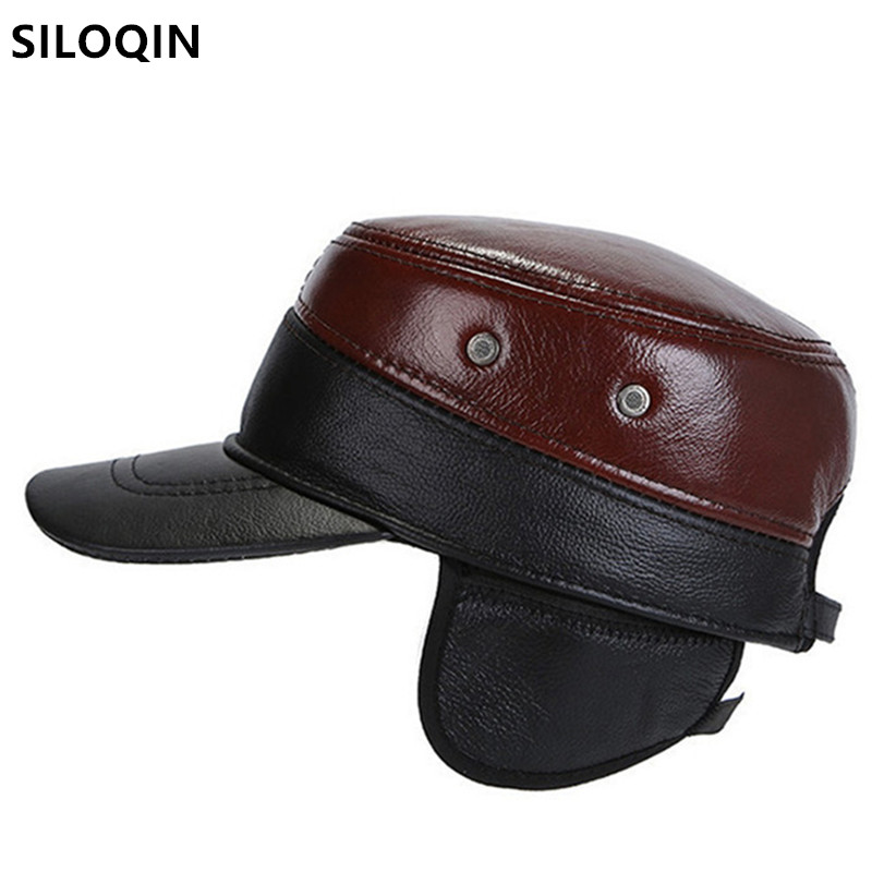 XdanqinX New Winter Men's Warm Military Hats Earmuffs Hat Genuine Leather Cap Men Flat Caps Adjustable Size Cowhide Leather Hat