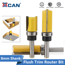XCAN 1pc 8mm Shank Flush Trim Template Router Bit Straight Slot Milling Cutter Carbide End Mill Woodworking Router Bits