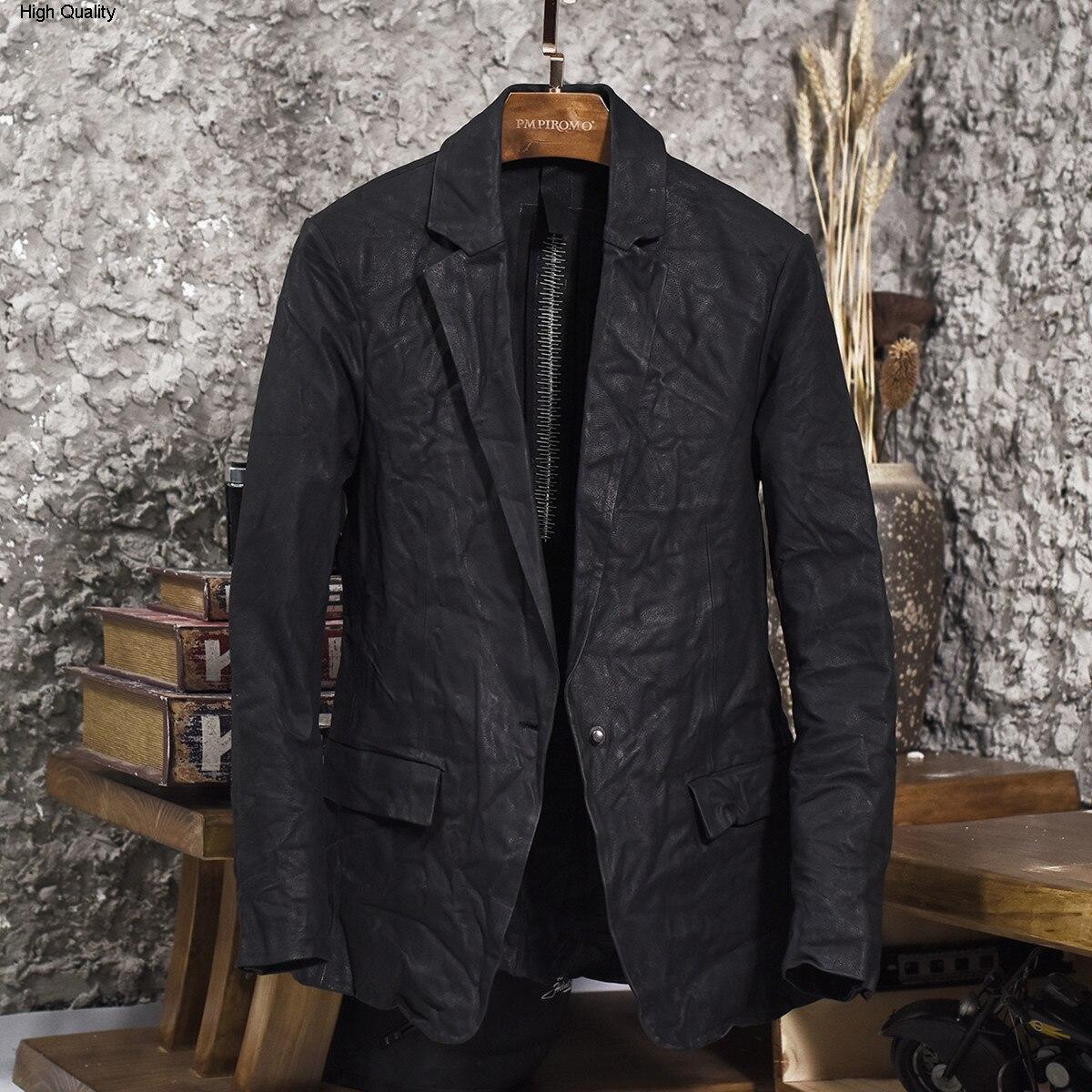 Men's Winkle Cow Leather Blazer Single Button Slim Fit Genuine Leather Suit Men Fashion Design Smart Casual Leather Jacket Male