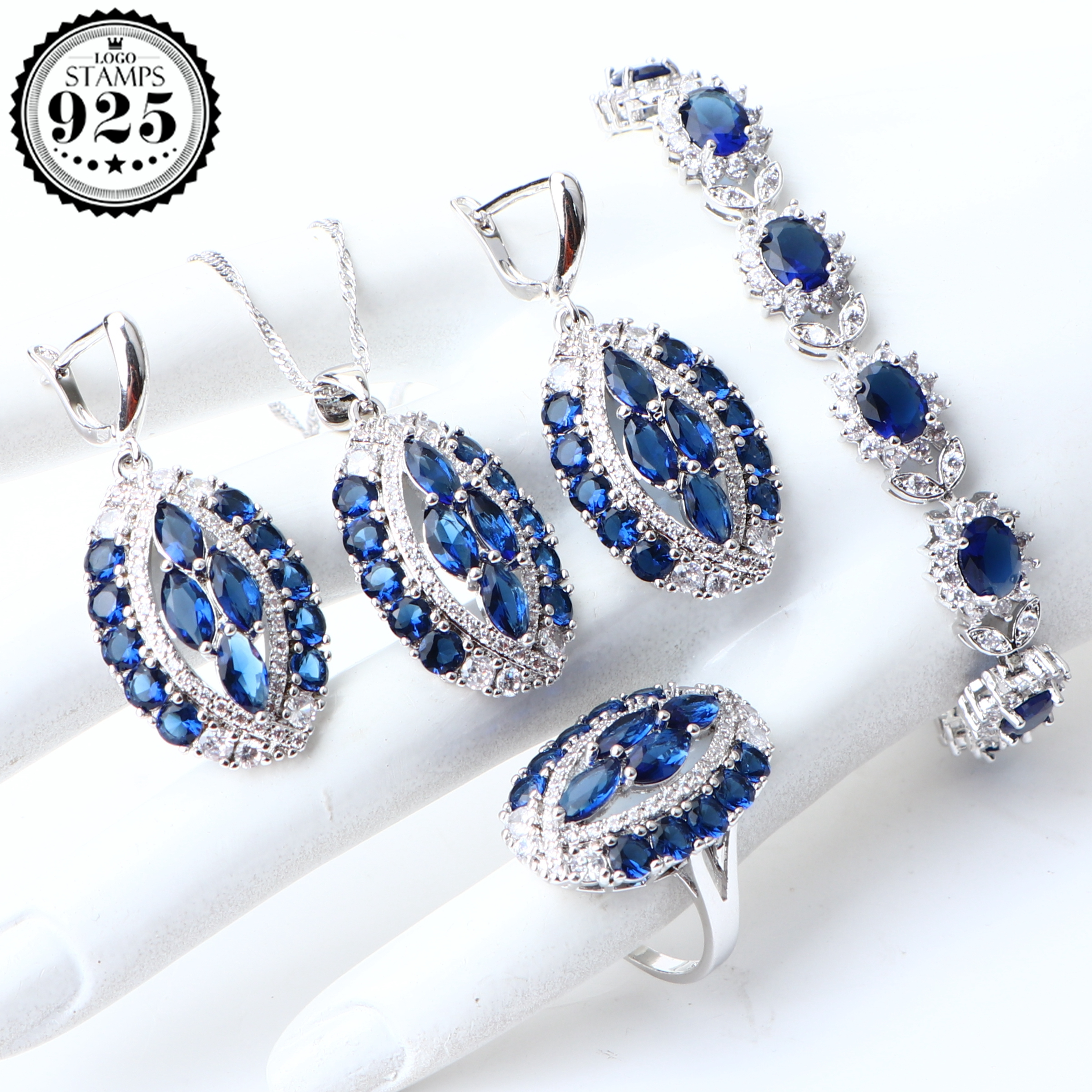 Pendant Jewelry-Sets Bracelet Necklace Ring-Stone Wedding-Earrings 925-Silver Bridal